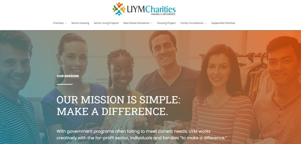 """<p align=""""center"""">With government programs often failing to meet current needs, UYM works creatively with the for-profit sector, individuals and families """"to make a difference.""""</p>"""